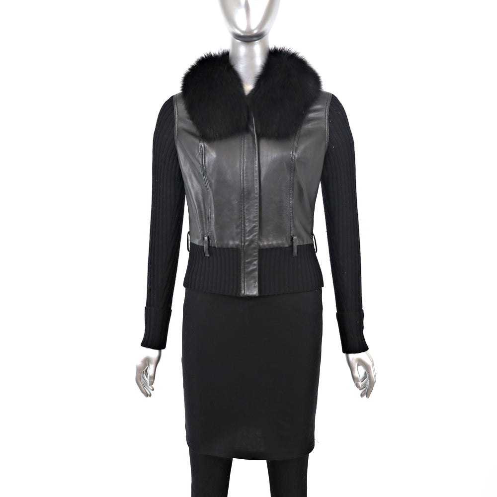 Leather Jacket with Wool and Fox Collar- Size S (Vintage Furs)