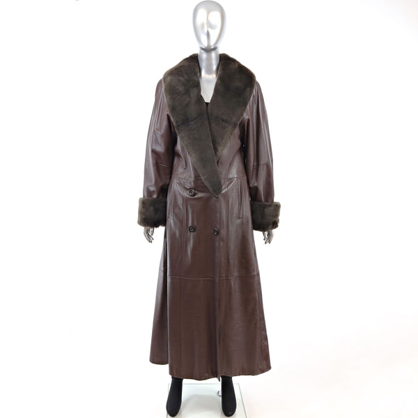 Leather Coat with Sheared Mink Trim- Size L (Vintage Furs)