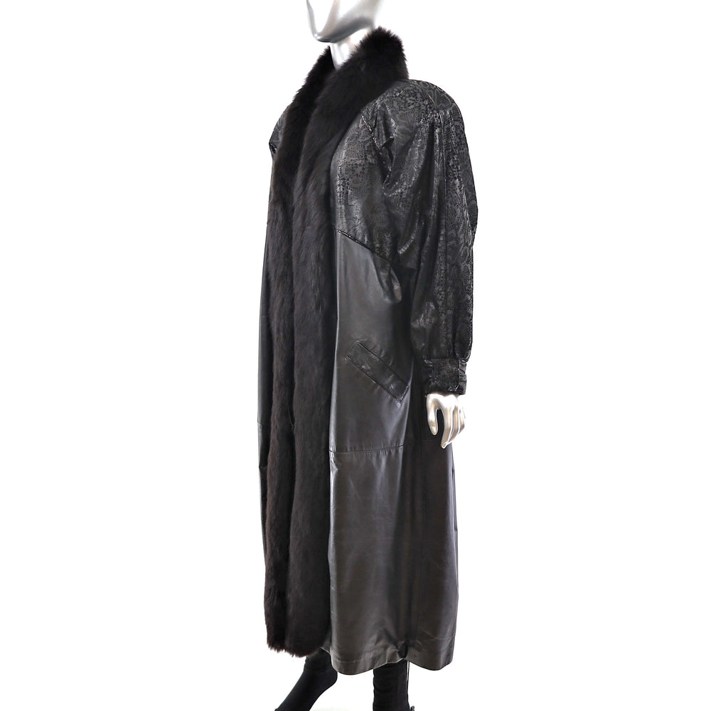 Leather Coat with Fox Tuxedo- Size XL