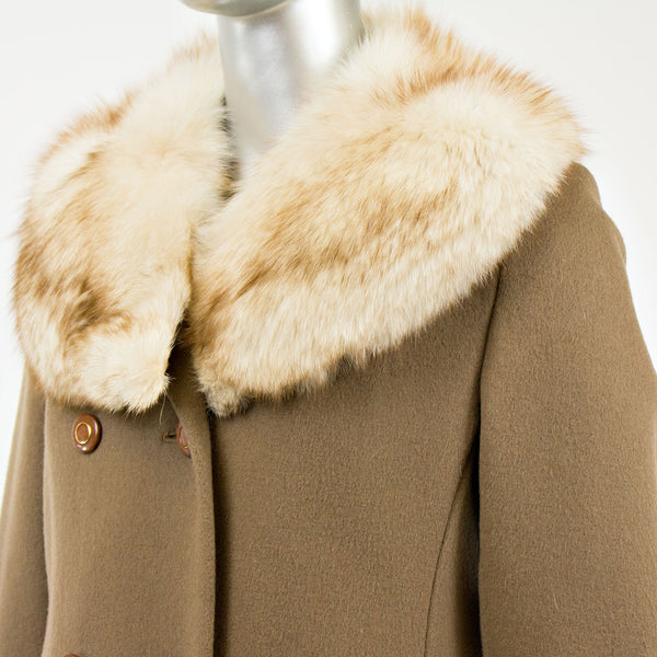 Light Brown Cashmere with Fox Collar Coat- Size S (Vintage Furs)