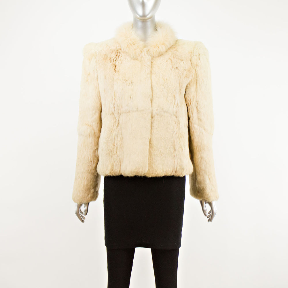 Beige Rabbit Jacket with Fox Collar- Size S (Vintage Furs)