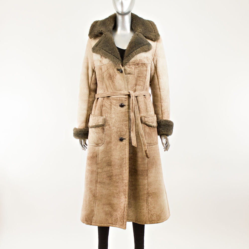 Light Brown Shearling with Hood - Size S (Vintage Furs)