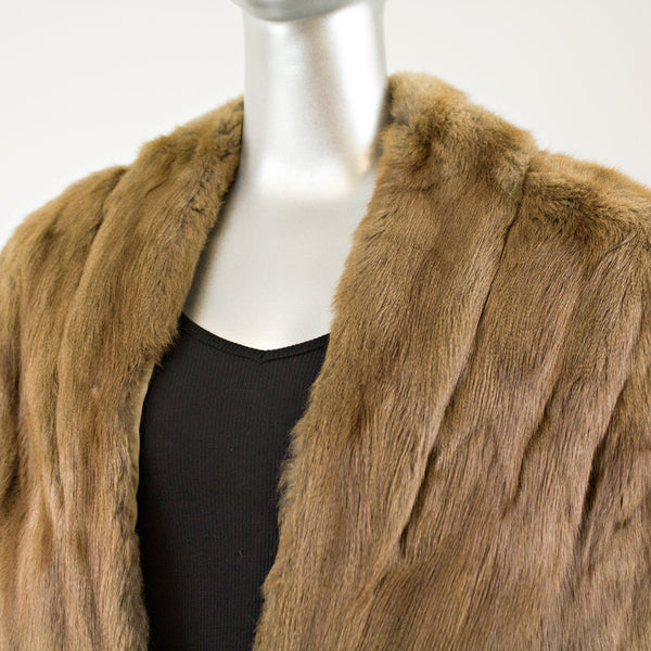 Light Brown Squirrel Short Stole- Free Size (Vintage Furs)
