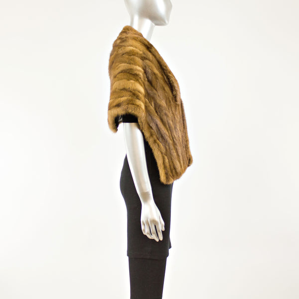 Light Mahogany Sectioned Mink Stole- Free Size (Vintage Furs)