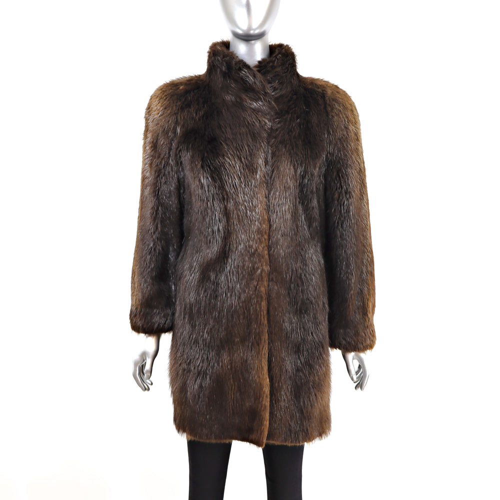 Long Hair Beaver 3/4 Coat- Size M (Vintage Furs)