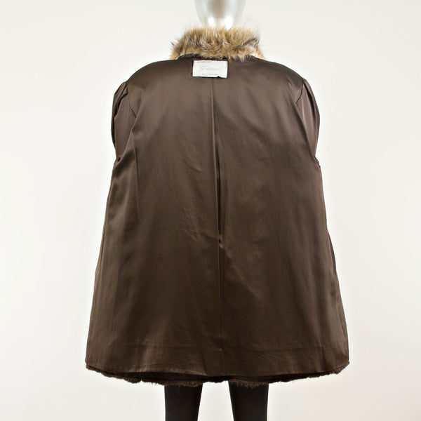 Long Hair Beaver with Crystal Fox 3/4 Coat  -  Size L (Vintage Furs)