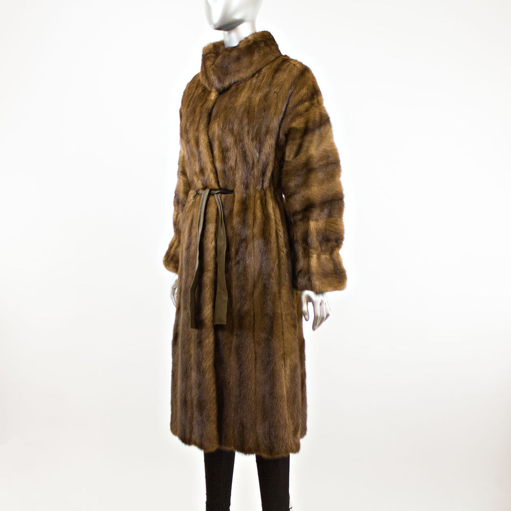 Lunaraine Section Mink Coat with Leather Belt- Size S (Vintage Furs)