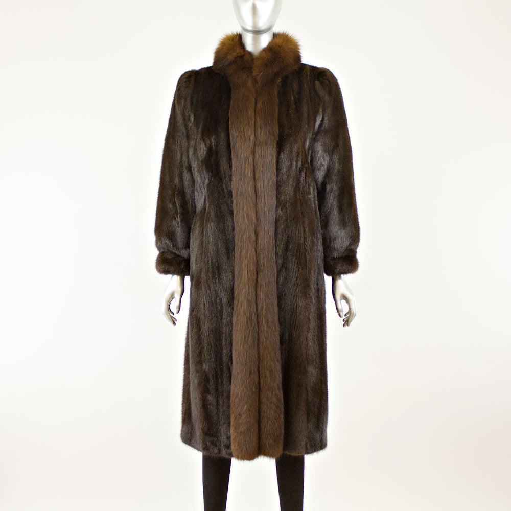 Mahogany Mink Coat with Fox- Size L (Vintage Furs)