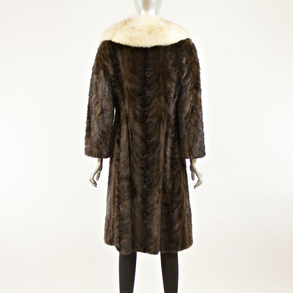 Mahogany Sectioned Mink with Fox Collar Coat- Size XS (Vintage Furs)