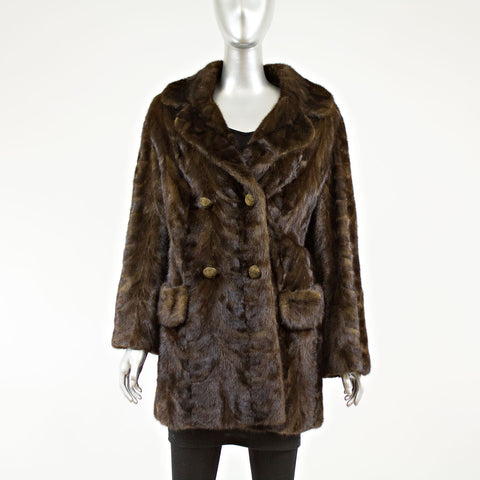 Mahogany Sectioned Mink 3/4 Coat - Size M