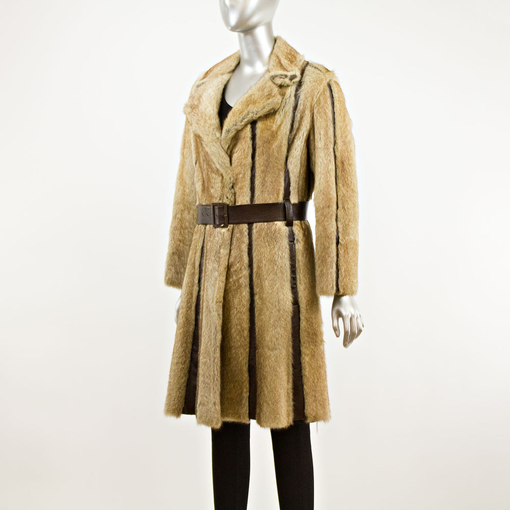 Marmot with Brown Leather Insert Coat with Belt- Size XS (Vintage Furs)