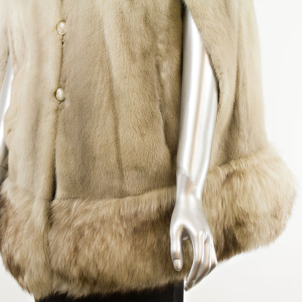 Mink Cape with Fox Trim- Size S (Vintage Furs)