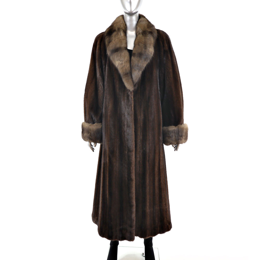 Lunaraine Mink Coat with Sable Trim- Size S (Vintage Furs)