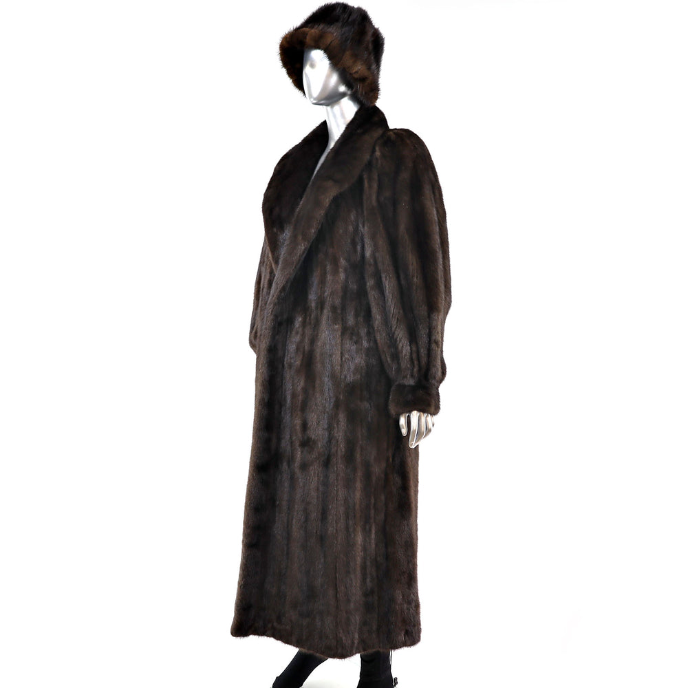 Mahogany Mink Coat with Matching Hat- Size L