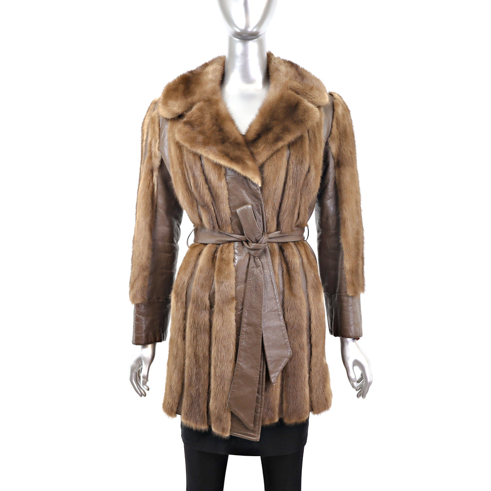 Lunaraine Mink Coat with Leather Insert- Size XS (Vintage Furs)