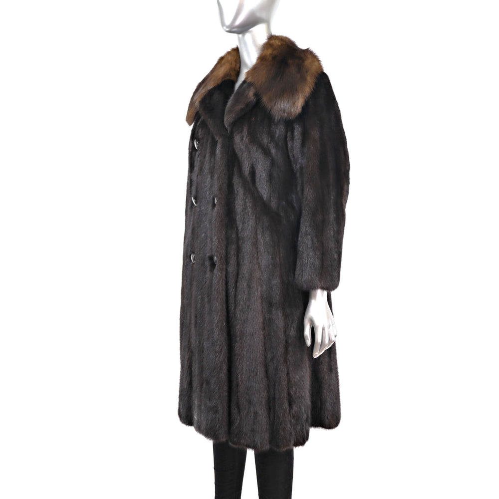 Mahogany Mink Coat with Sable Collar- Size S (Vintage Furs)