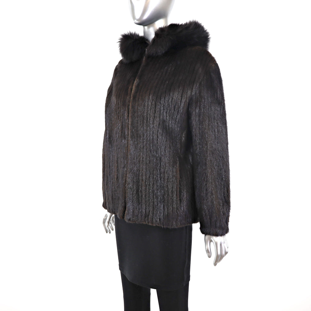 Mahogany Mink Corded Jacket with Hood- Size S (Vintage Furs)
