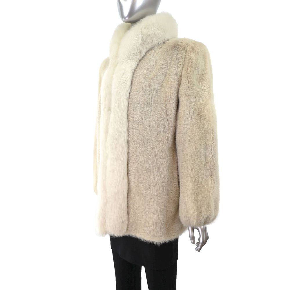 Pearl Mink Jacket with Fox Tuxedo- Size M (Vintage Furs)