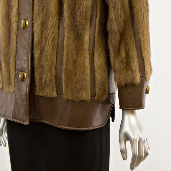Autumn Haze Mink Jacket with Leather Insert- Size S (Vintage Furs)