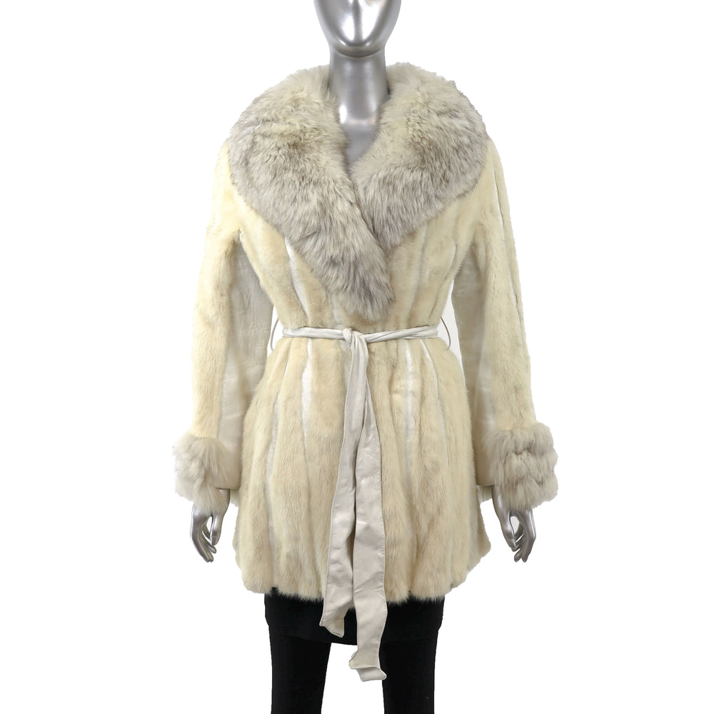 Ivory Mink Jacket with Leather Insert and Fox Trim- Size M (Vintage Furs)