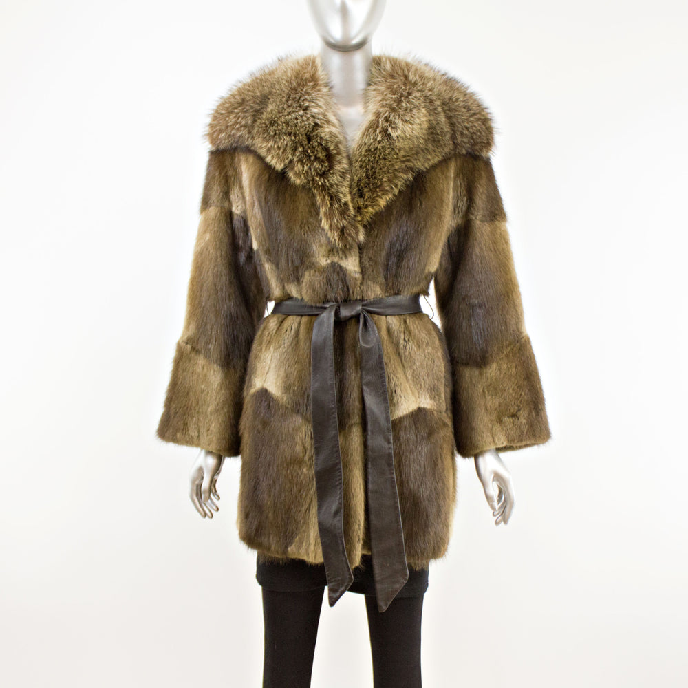 Muskrat Coat with Raccoon Collar- Size M (Vintage Furs)