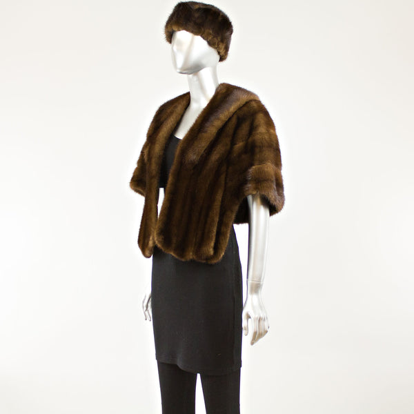 Mahogany Mink Stole with Hat- Free Size (Vintage Furs)