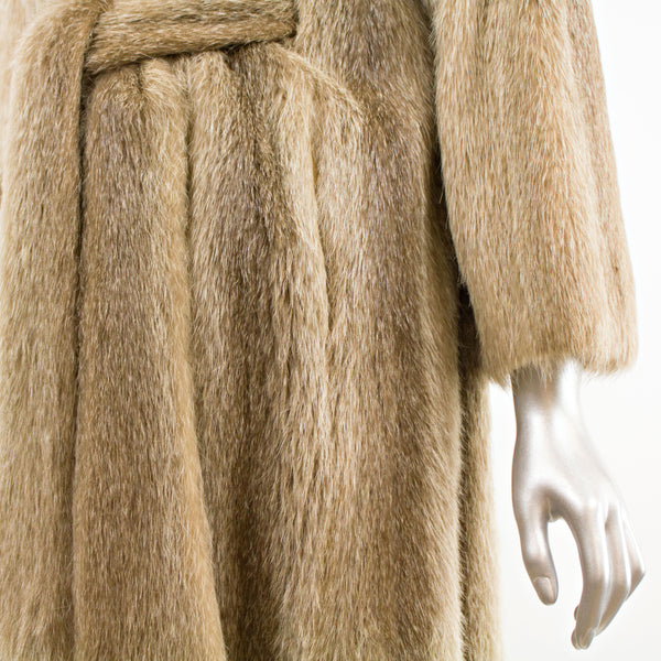Nutria 7/8 Coat with Belt- Size S ( Vintage Furs)