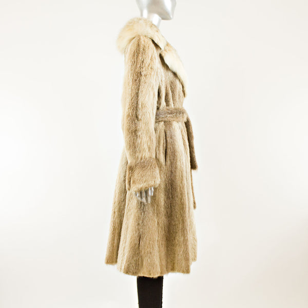 Nutria Coat with Lynx Collar - Size XL ( Vintage Furs)
