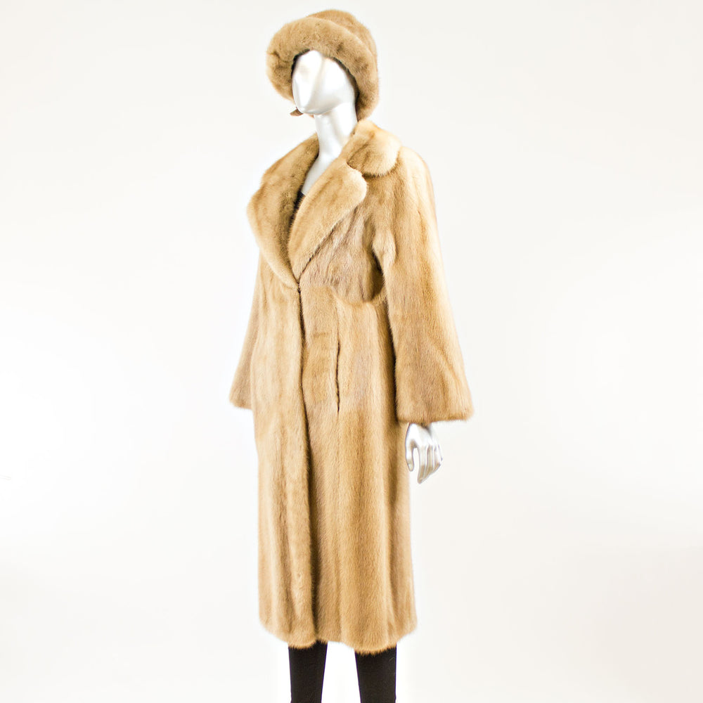 Pastel Mink Coat with Hat - Size S (Vintage Furs)