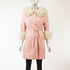 Pink Leather Jacket with Fox Trim- Size S (Vintage Furs)