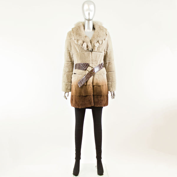 Rabbit Degrade with Fox Collar Jacket - Size S (Vintage Furs)