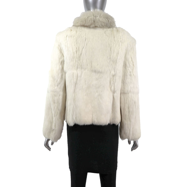 White Rabbit Jacket with Fox Collar- Size S (Vintage Furs)