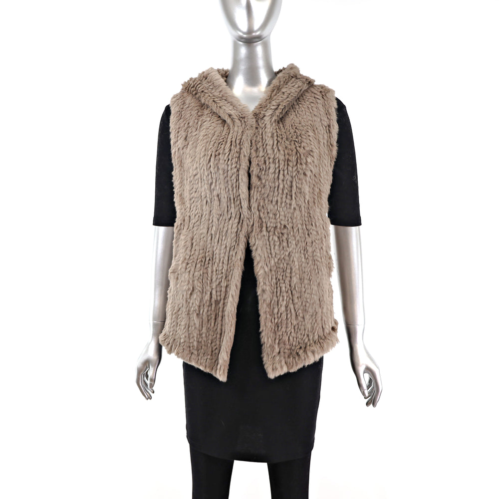 Knitted Rabbit Hooded Vest- Size XS