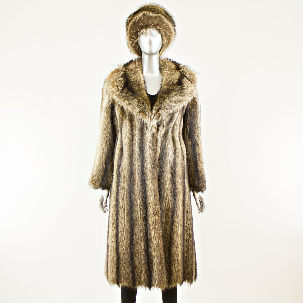 Raccoon coat with free matching hat - Size S (Vintage Furs)