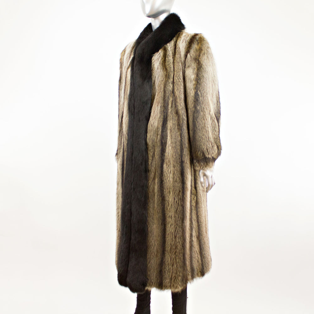 Raccoon Coat with Black Fox Tuxedo- Size M (Vintage Furs)