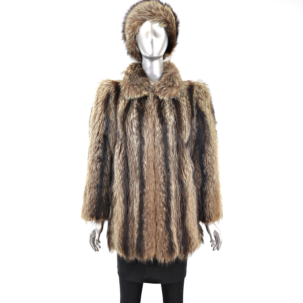 Raccoon Jacket with Matching Hat- Size M (Vintage Furs)