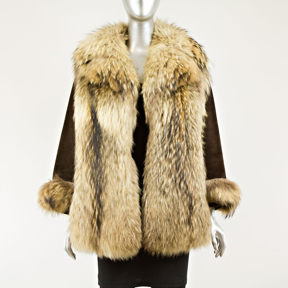 Raccoon Jacket with brown suede sleeves - Size XS-S (Vintage Furs)