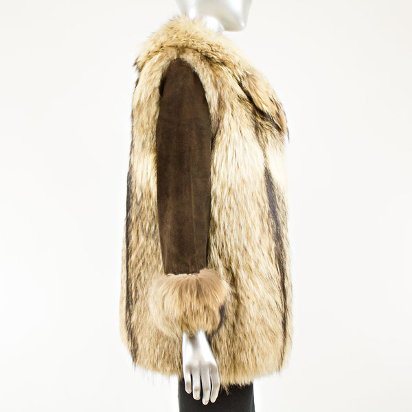 Raccoon Jacket with brown suede sleeves - Size XS-S