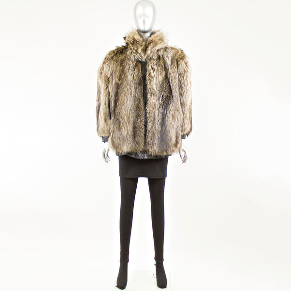 Raccoon reversible to leather bomber Jacket - Size M (Vintage Furs)