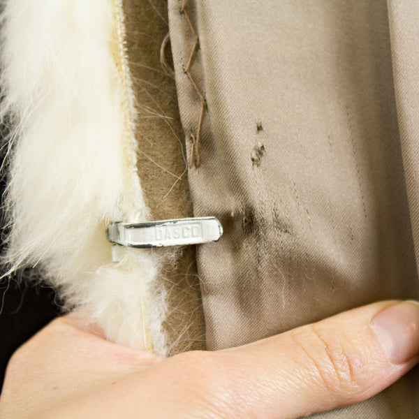 Raccoon with white fox Tux collar Coat - Size S