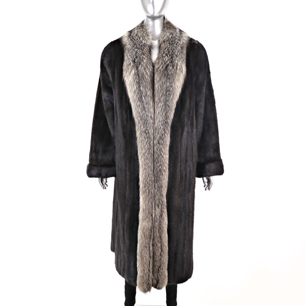 Ranch Mink Coat with Silver Fox Tuxedo- Size M (Vintage Furs)