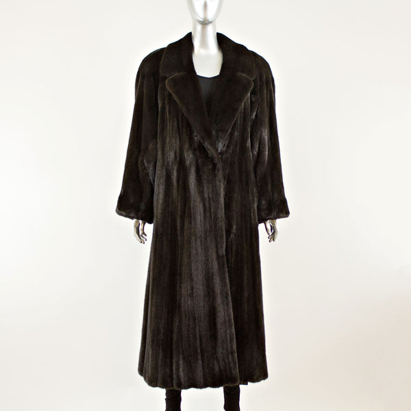Ranch Mink Notch Collar Coat - Size L (Vintage Furs)