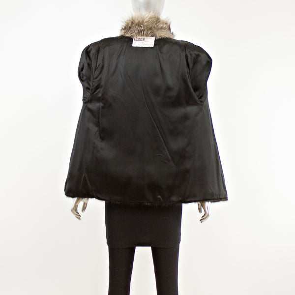Ranch Mink with Fox Tuxedo Jacket- Size S (Vintage Furs)