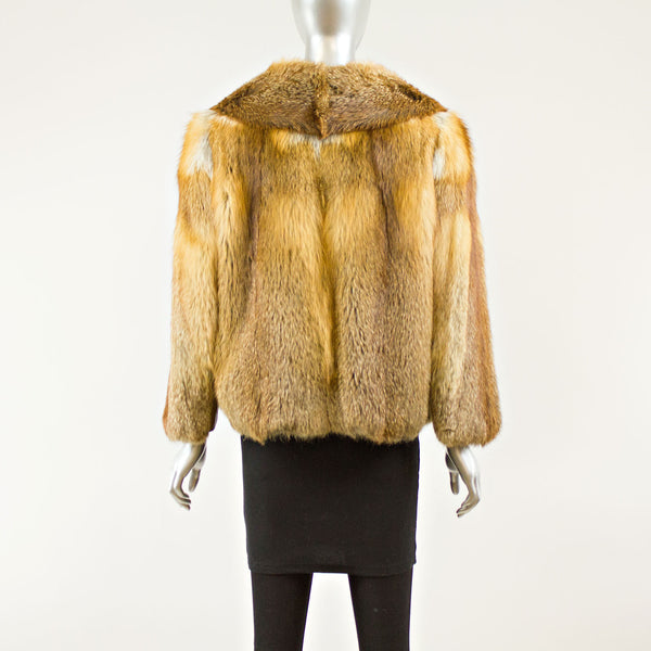 Red Fox and Leather Jacket - Size S ( Vintage Furs)