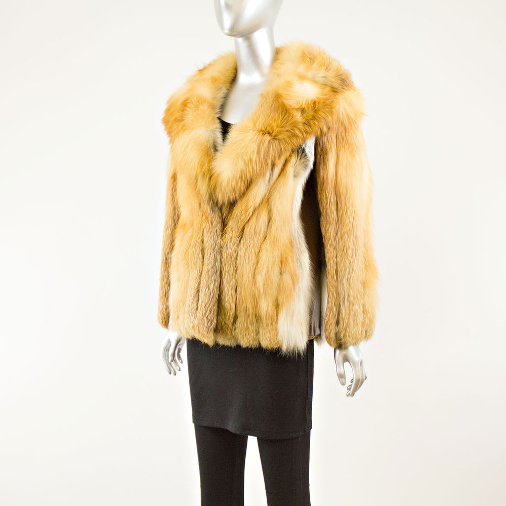 Red Fox Jacket with Leather Insert - Size M ( Vintage Furs)
