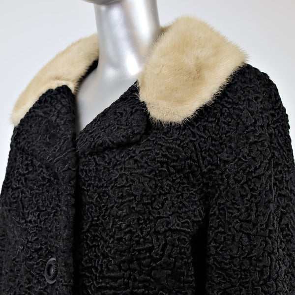 Persian Lamb Jacket with Mink Collar- Size M (Vintage Furs)