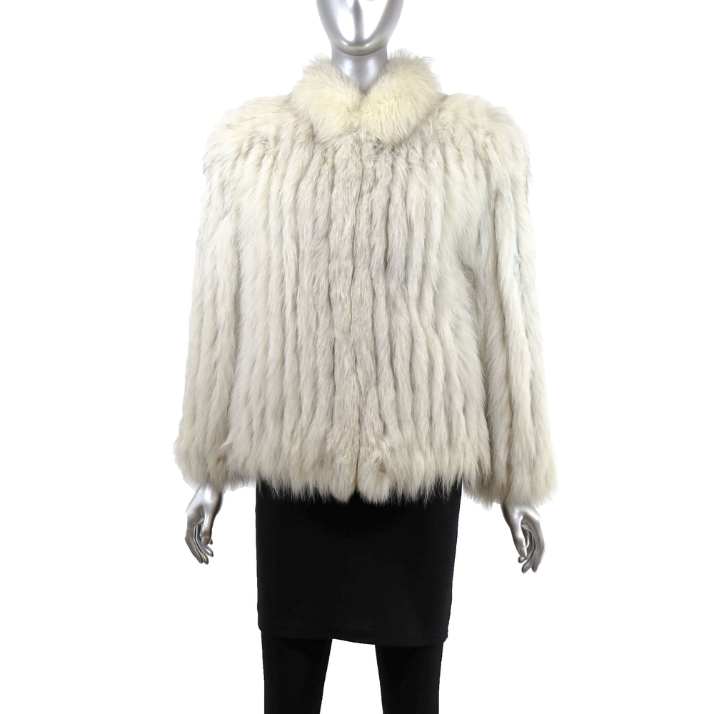Blue Fox Corded Jacket- Size S (Vintage Furs)