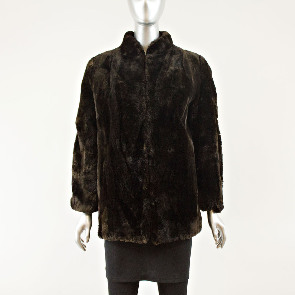 Sectioned Sheared Beaver Jacket - Size M (Vintage Furs)