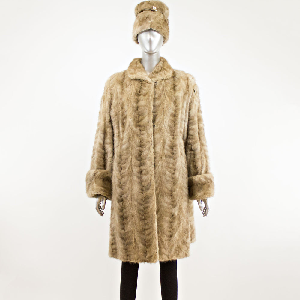 Section Mink Sapphire Coat with Hat- Size XXL (Vintage Furs)