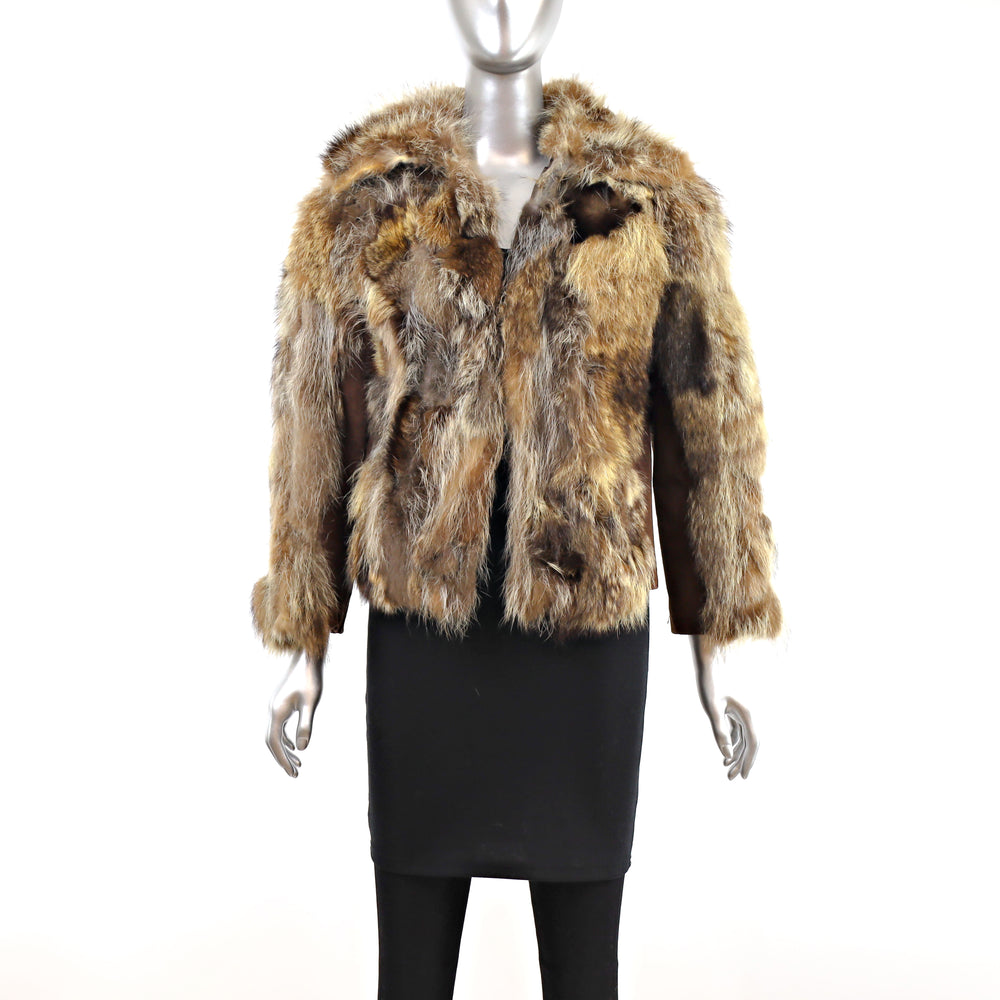 Section Raccoon Jacket with Suede Trim- Size S (Vintage Furs)